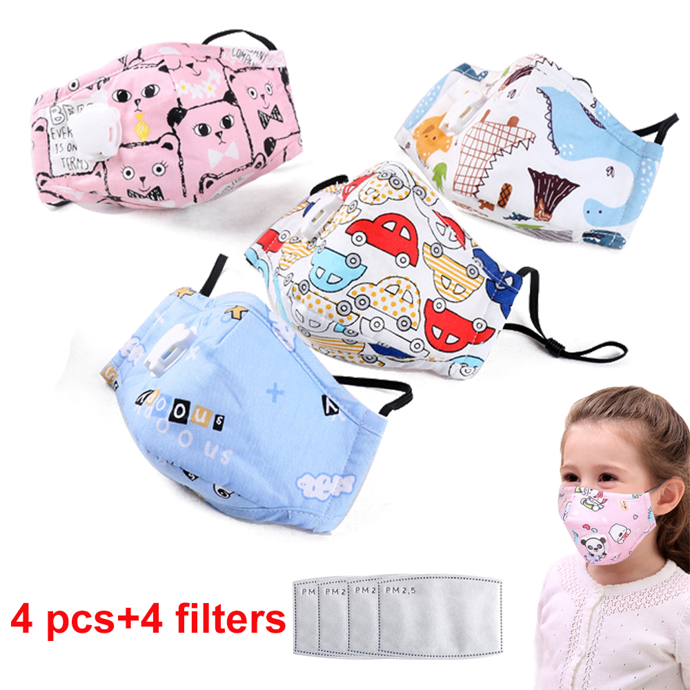 4 PCS Kids Anti Pollution PM2.5 Cotton Cartoon Mouth Mask Breath Valve Filter Papers Kids Anti-Dust Mask Activated Carbon Filter