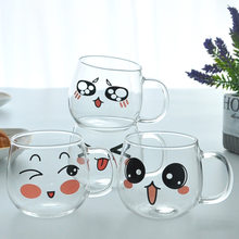 Emotion Cup Creative Glass Cute Coffee Cup Mug Borosilicate Glass Cold Resistance Heat-Resistant Set Household Cups Lightweight