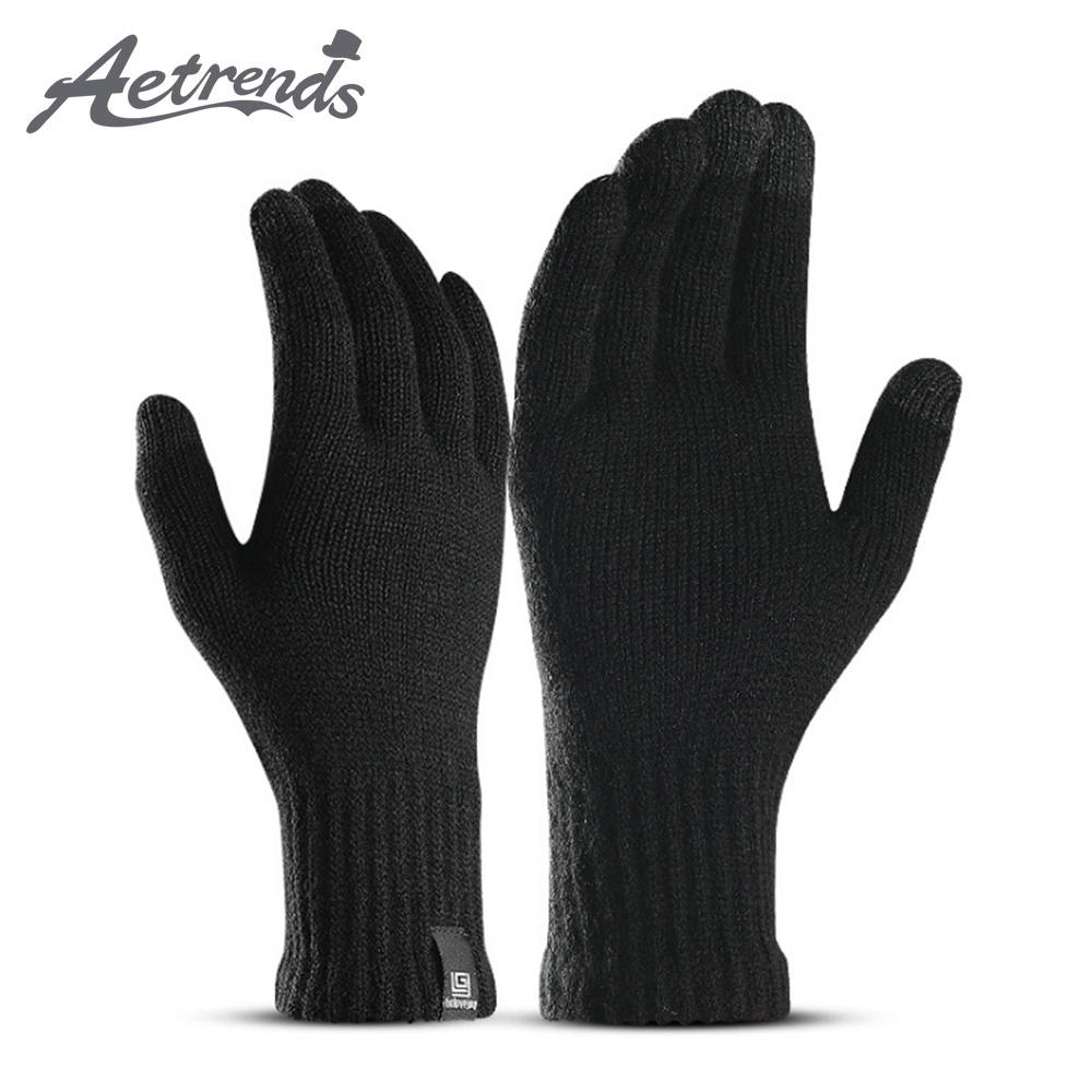 [AETRENDS] Winter Gloves For Men And Women Knit Touch Screen Elastic Cuff Thermal Soft Fleece Lining O-0052