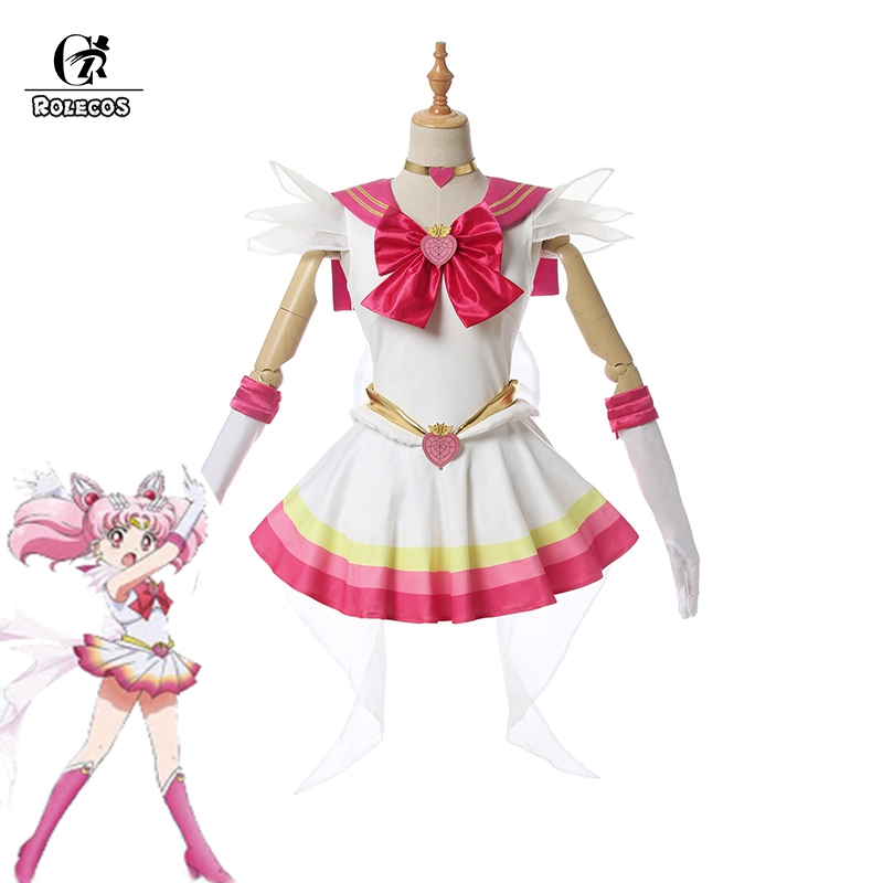 ROLECOS Sailor Moon Eternal Cosplay <font><b>Costume</b></font> Chibiusa Cosplay Dress <font><b>Halloween</b></font> Dress <font><b>Women</b></font> <font><b>Sexy</b></font> <font><b>Costume</b></font> Shoes Cover Full Set image