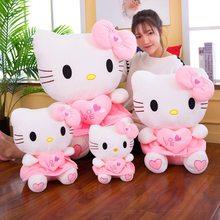 Nova marca kawaii kitty brinquedos de pelúcia rosa bowknot vestido kitty gato boneca brinquedo de pelúcia super bonito presente de aniversário para crianças