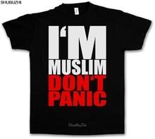 เสื้อยืด I AM มุสลิมไม่ PANIC II ศาสนาอิสลามมุสลิม S M L XL XXL XXXL เสื้อยืดใหม่ sbz3273