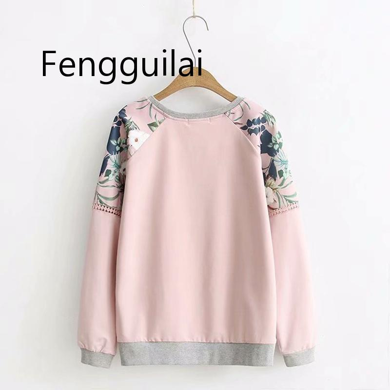 FENGGUILAI Spring Floral Casual Hoodie Women Plus Size 3XL 4XL O-neck Whiite Gray  Long Sleeve Autumn Sweatshirt
