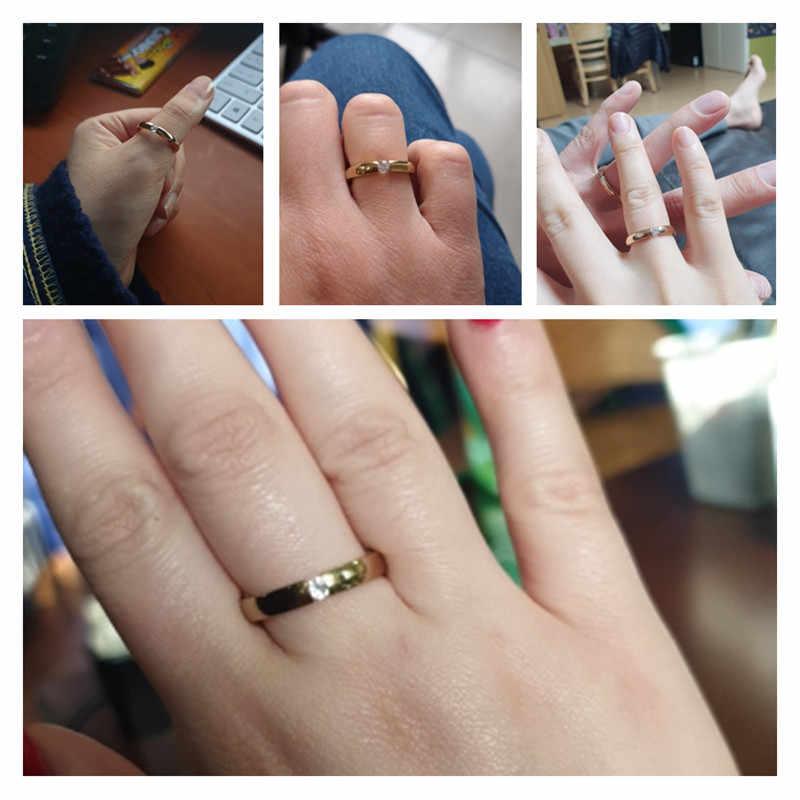 หมั้นแหวนสแตนเลสสตีลเงินสีทองสีFinger Girlของขวัญขนาด 5 6 7 8 9 10