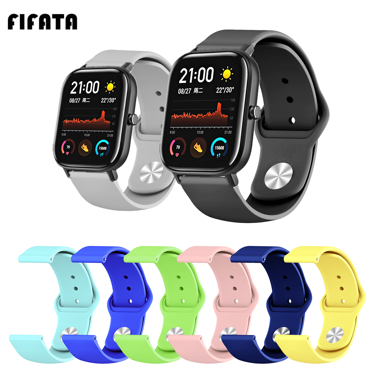 FIFATA 20/22MM Colorful Silicone Watch Strap For Huami Amazfit GTS Smartwatch Wristband For Huami Amazfit Stratos Accessories