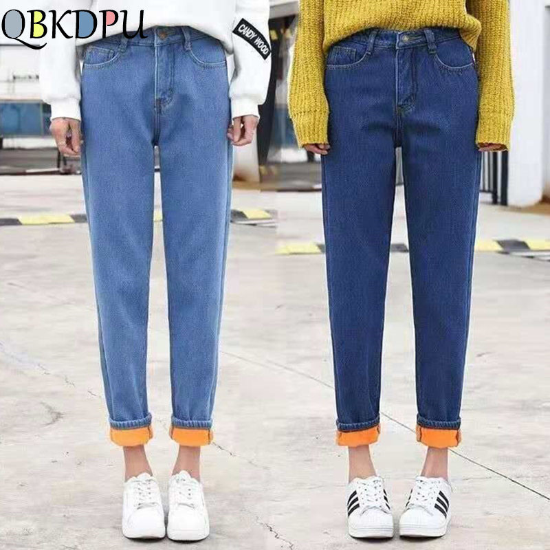 High Waist Boyfriend Jeans For Women Winter Velvet Thickening Warm Denim Pants Korean Fashion Loose Plus Size Trousers Mujer