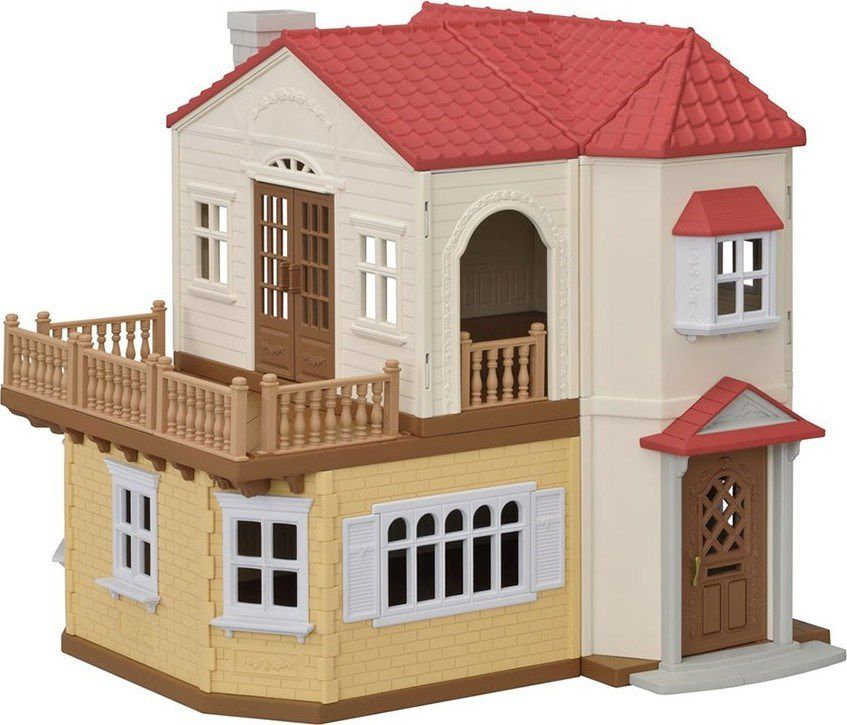 Дом в стиле колонни с красной крышей и подсветкой|Центры деятельности и развлечений| | АлиЭкспресс