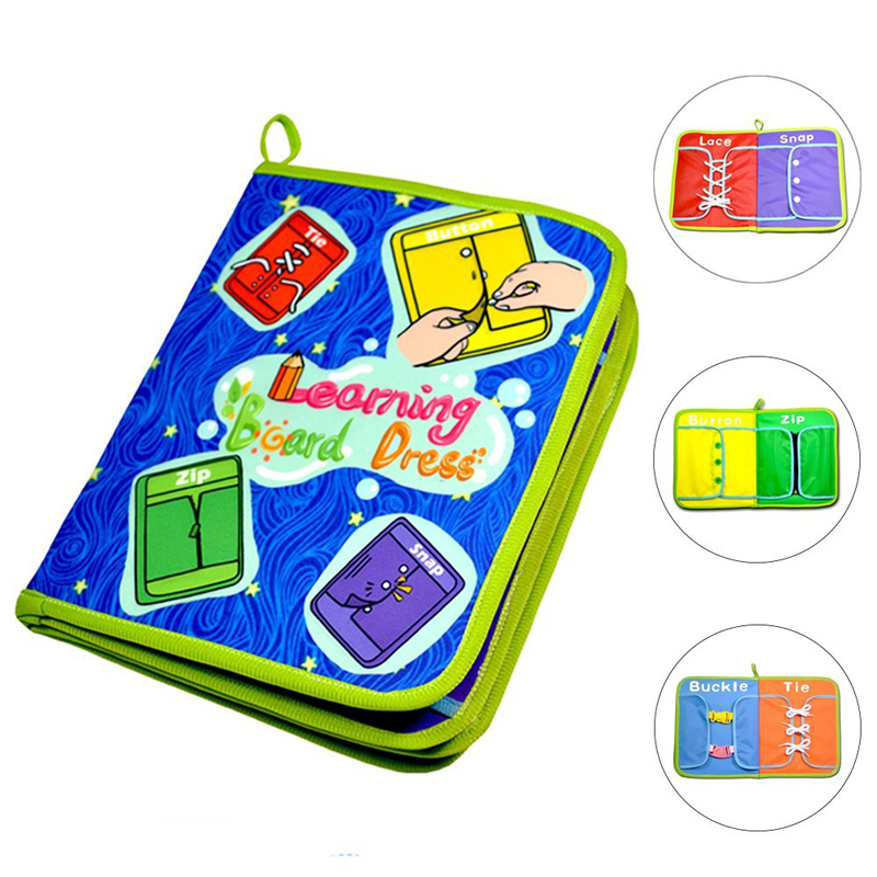 8 Pages Montessori Toy Dress Boards Quiet Book Zip Snap Button Buckle Lace & Tie Early Learning Basic Life Skills Toys