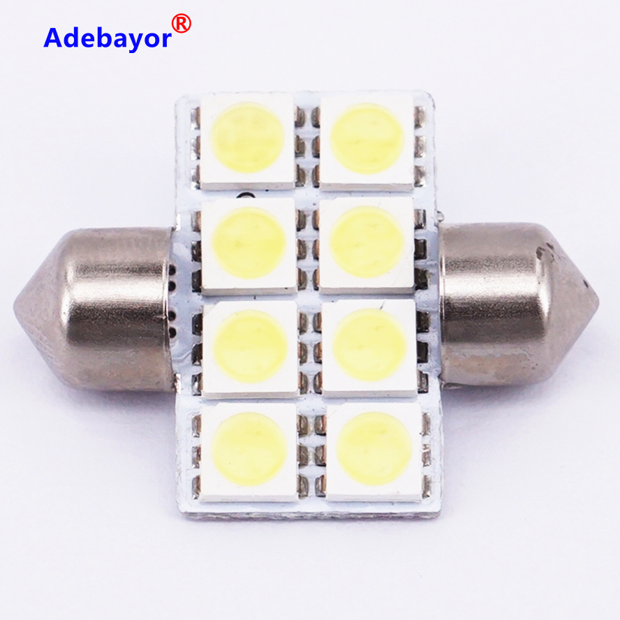 US $33.81 18% OFF|100 PCS Car Auto Interior 5050 8 LED SMD Festoon Dome 31mm Light LED Licence Plate Roof Car Light 12V White wholesale|Signal Lamp|