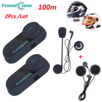 Freedconn 2PCS/Lot TCOM OS Motorcycle Helmet Intercom Wireless 100m Bluetooth Intercom Interphone Walkie Talkie Moto Headset