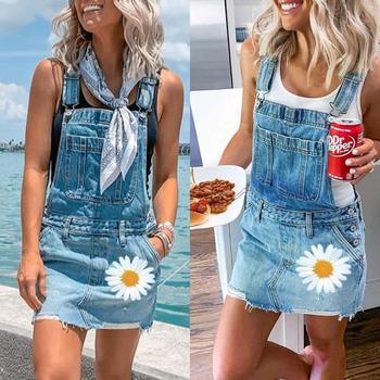 Women Suspender Straps Skirt Denim Overall Pocket Romper Slim Fit Jean Skirts Siamese Femme Summer Overalls Daisy Printed Femme цена 2017
