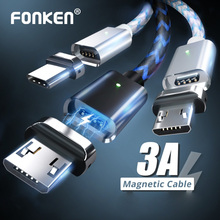FONKEN Micro USB Type C Magnetic Cable 1M 2M Magnet 3A Fast Charge for Phone Charger Type-C Cord Mobile Led Data Wire