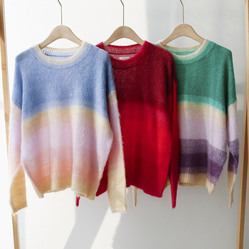Sweater women rainbow striped pullover mohair sweater loose wool spring and autumn red womens plush sense
