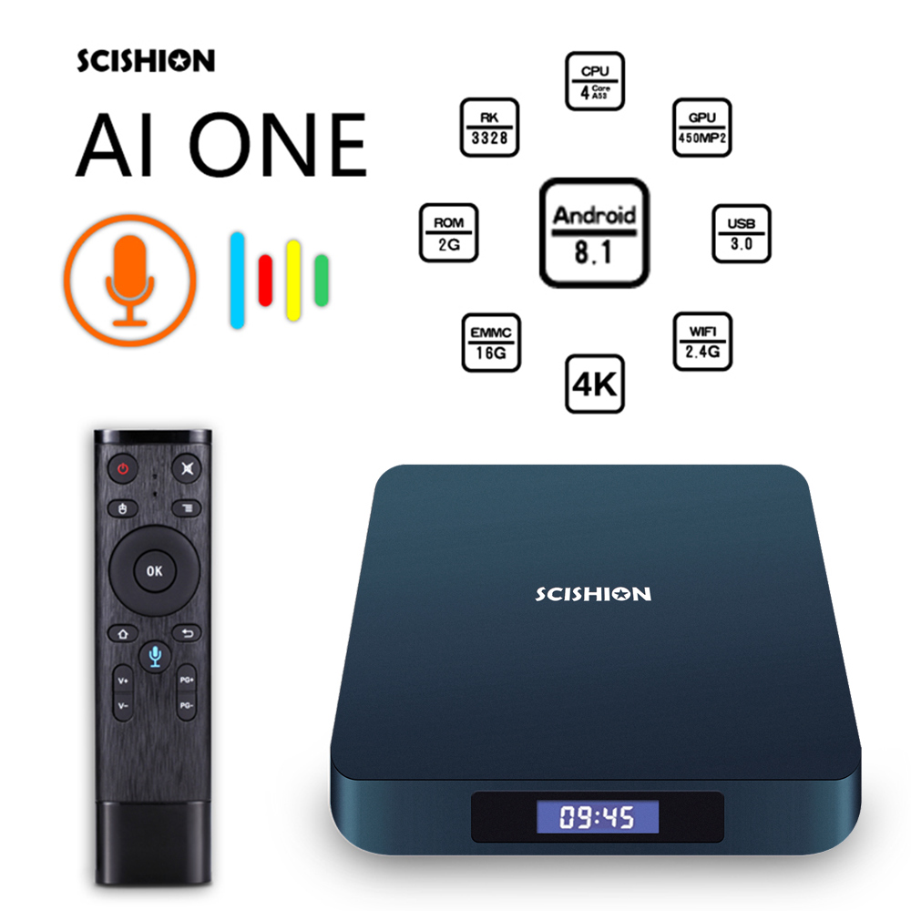 SCISHION AI ONE Android TV Box android 8 1 smart TV Rockchip 3328 or Model X