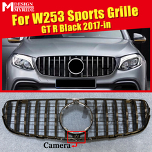 front grille suitable for glc class w253 gtr 2015 2018 x253 glc200 glc250 glc300 glc450 glc63 grille without central logo W253 Grille GT Grills GLC-Class Sport Front Grille Without sign Fit For MercedesMB GLC250 350 400 Black Grills With camera 2017+