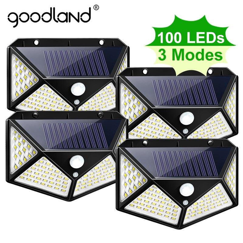 Goodland 100 светодиодный солнечный свет уличные садовые на солнечных батареях лампа с питанием от солнечных лучей водонепроницаемый PIR датчик д...