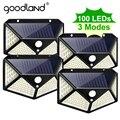 Уличная лампа Goodland, светодиодная с питанием от солнечной батареи и датчиком движения, 100 светодиодов