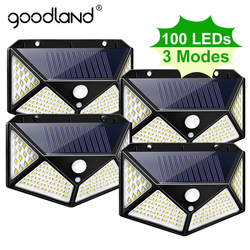 Goodland 100 conduziu a luz solar ao ar livre lâmpada solar alimentado luz solar à prova dwaterproof água pir sensor de movimento luz de rua para a decoração do jardim