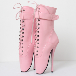 Image 5 - jialuowei Fetish Ballet Boots Women High Heel Spike Black PU Cross Tied Lace Up Mid Calf Spring and Autumn Boots Plus Size 36 46