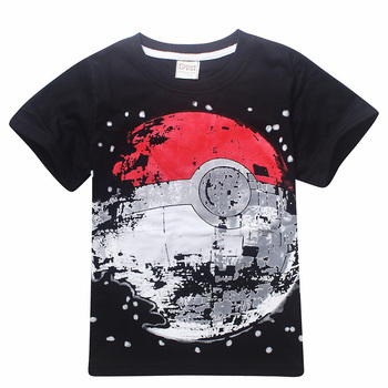 Cheap Sale Children T Shirts Boys POKEMON Ball T Shirt Summer Top Tee Earth Clothing T-shirt for Baby Boy Kids Clothes Outfits 1