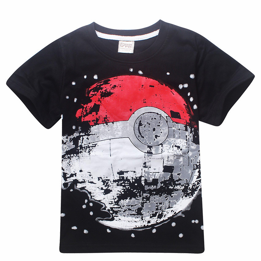 Cheap Sale Children T Shirts Boys POKEMON Ball T Shirt Summer Top Tee Earth Clothing T-shirt for Baby Boy Kids Clothes Outfits