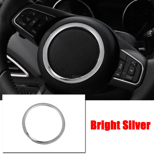 ABS Chrome Car Accessories Steering Wheel Ring Sticker Logo Frame Trim for Jaguar F-Pace X761 XE X760 XF/XFL X260 E-PACE F-TYPE 6