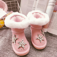 Rhinestones Toddler Girl Snow Boots Cute Pink Suede Leather Real Rabbit Fur Winter Boots 2020 Bling Crystals Warm Kids Shoes