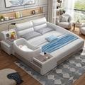 Кожаная кровать интеллектуальная современная простая кровать 1 8 м мягкая Свадебная кровать