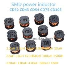 PCS SMD Indutores De Potência CD32 20 CD43 CD54 CD75 CD105 2.2uH 3.3uH 4.7uH 6.8uH 10uH 100uH 150UH 220UH 330UH 470UH 680UH 1000UH