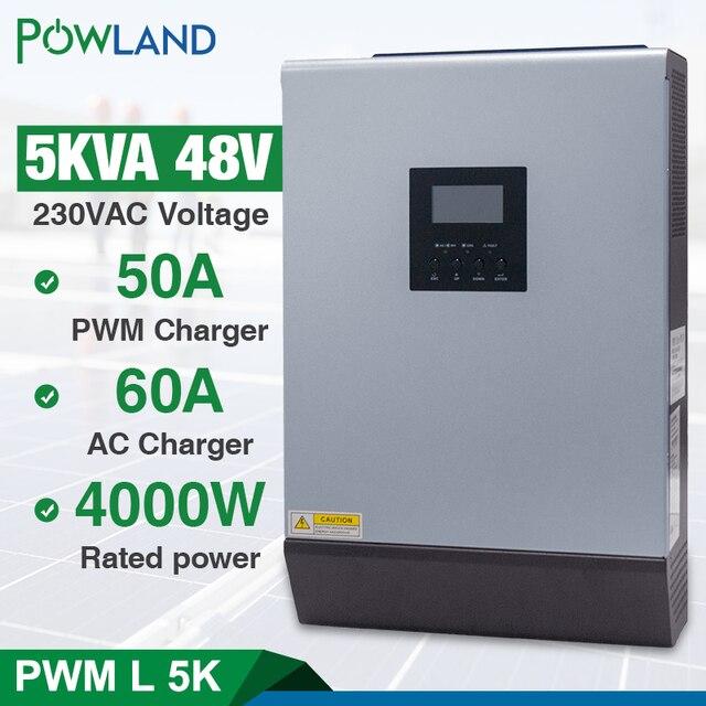 5KVA 태양 하이브리드 인버터 순수 사인파 220VAC 출력 60A AC 충전기와 내장 PWM 48V 50A 태양 광 충전 컨트롤러