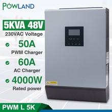 5KVA שמש היברידי מהפך טהור סינוס גל 220VAC פלט מובנה PWM 48V 50A שמש תשלום בקר עם 60A AC מטען