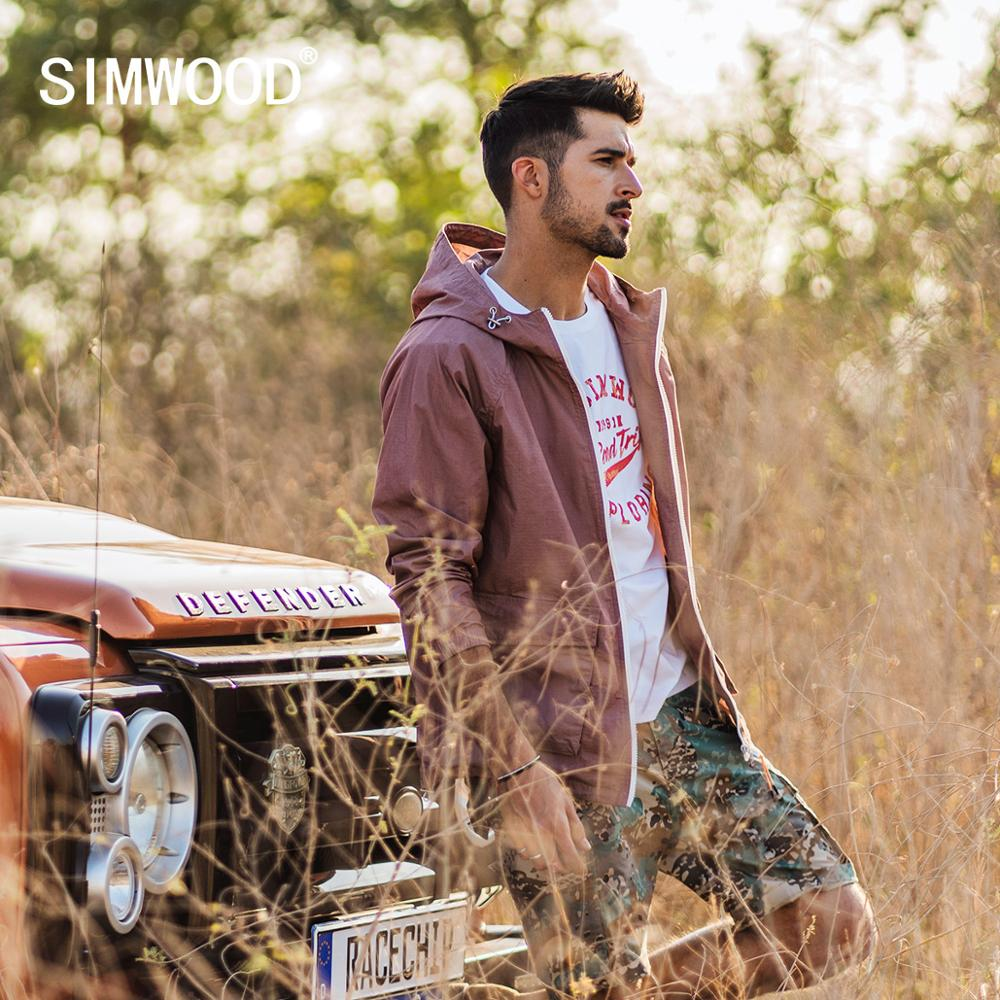 SIMWOOD 2020 Spring New Plaid Jacket Men Hooded Casual Outerwear Plus Size Windbreaker Coats High Quality SJ130053