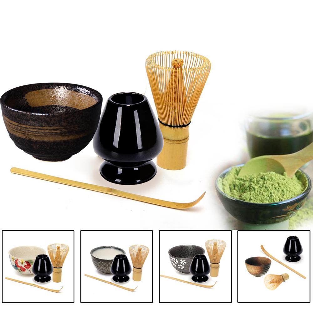 LUWU 4pcs/set Traditional Matcha Giftset Bamboo Matcha Whisk Scoop Ceremic Matcha Bowl Whisk Holder Japanese Tea Sets