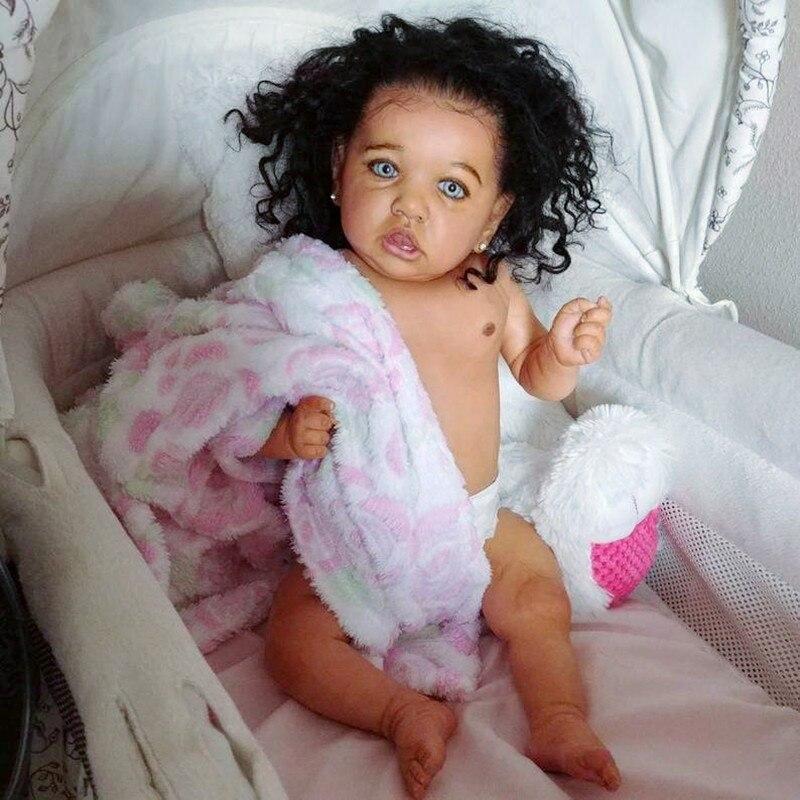 22'' Elsie Reborn Baby Doll Girl Toy Realistic Reborn Baby Lifelike Newborn Babies Doll Soft Silicone Real Black Baby Kids Gift
