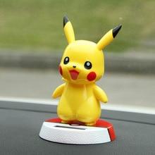 New Cute Pikachu Car Ornaments Solar Shaking Head Swing High Quality 12CM Resin Doll Crafts Home Decorations