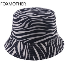 Bucket-Hats Zebra Summer Fisherman-Caps Print Reversible Black White Women New-Fashion