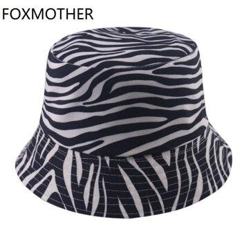 FOXMOTHER-sombreros de cubo Reversible con estampado de cebra para mujer, Gorras de pescador a rayas blancas y negras, novedad de 2020