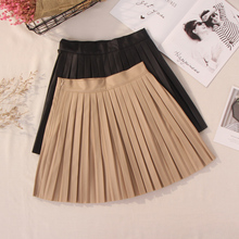 Women Fashionable Pleated PU Leather Short Skirt Popular All-match A-line High W