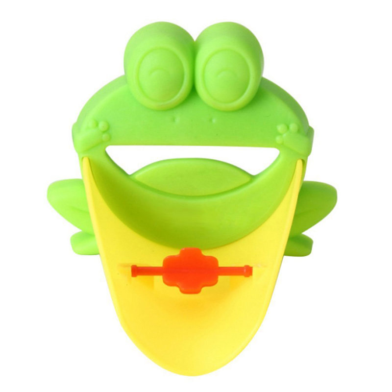 Cute Faucet Extension Extender For Kids Baby Hands Wash Bathroom Cartoon Frog Design (Green)