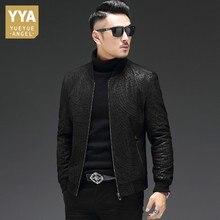 Alta qualidade de pele carneiro fino ajuste dos homens jaquetas outono manga longa zip couro genuíno casual preto masculino outerwear casacos plus size