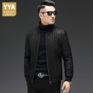Image 1 - High Quality Sheepskin Slim Fit Mens Autumn Jackets Long Sleeve Zip Genuine Leather Casual Black Male Outerwear Coats Plus Size