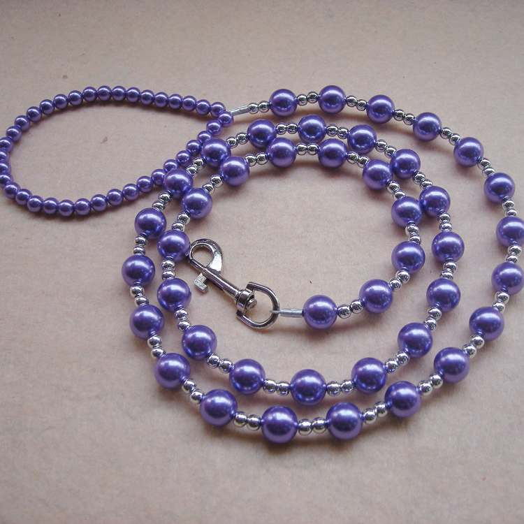 New Style Purple Large Pearl Pet Dog Cat Hand Holding Rope Safety Belt Bead Necklace Sling