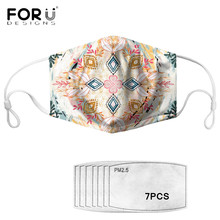 FORUDESIGNS Hot Style Mask Bohemian Mandala Pattern Printed Facial Cover with 7 Pieces PM 2.5 Filter Paper Mascarilla Free Ship