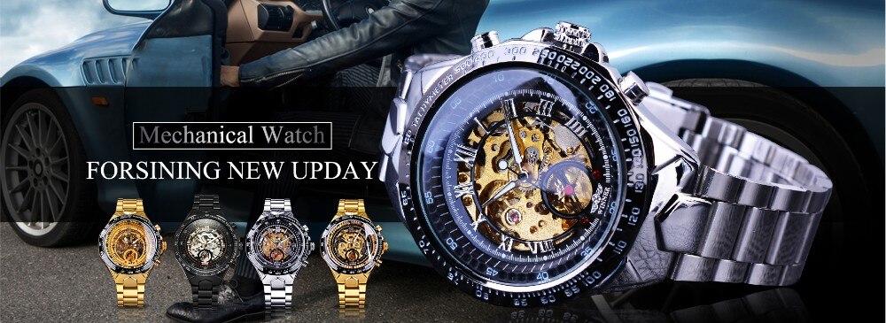 213 (2)Montre Homme horloge automatique squelette