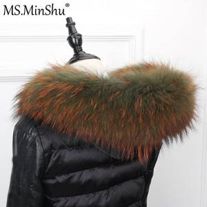 Image 4 - さん minShu ビッグ毛皮の襟本物のアライグマの毛皮フードトリムスカーフ黒色パーカーコートの毛皮の襟スカーフカスタムメイド