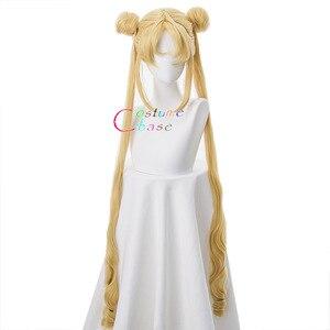Image 2 - Tsukino Usagi Wig 90cm Long Wavy Sailor Moon Cosplay Costumes Party Halloween Synthetic Hair +Free Wig Cap