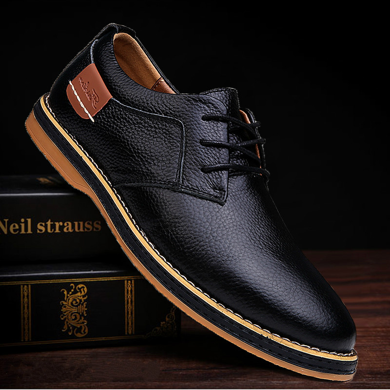AQ58 2020 New Men Oxford Genuine Leather Dress Shoes Brogue Lace Up Flats Male Casual Shoes Footwear Loafers Men Big Size 39-45