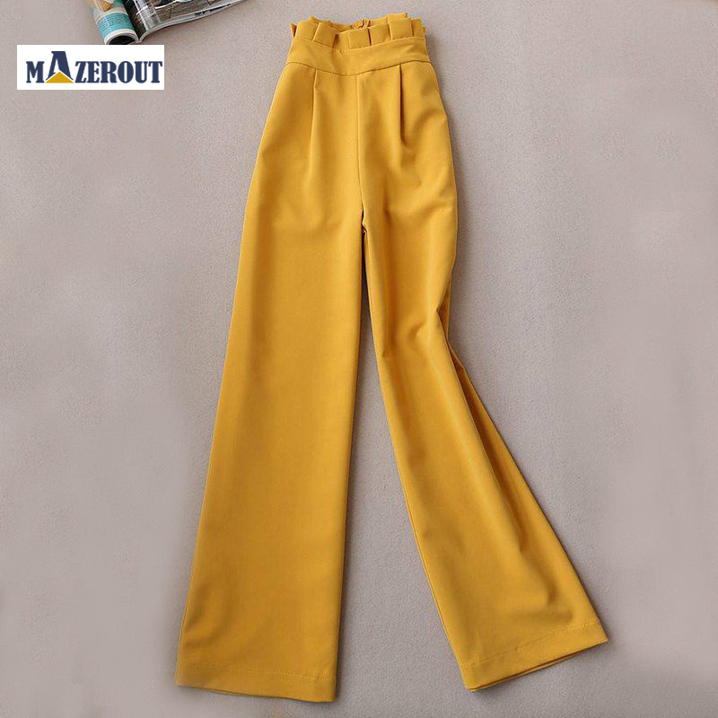 MAZEROUT elegant black yellow Women pants sashes pockets zipper fly solid ladies streetwear 2020 casual chic trousers High Waist
