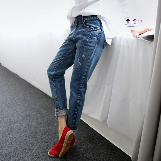 2019 Spring New Korean Women's Large Size Loose High Waist Was Thin Students Wild Straight Nine Points Jeans Women