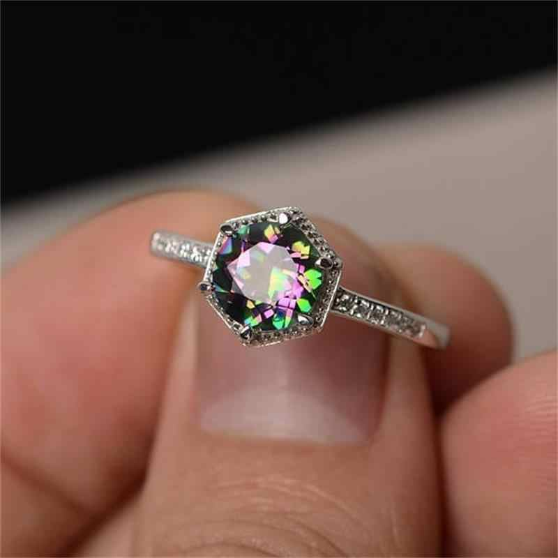 2018 New Mystery Rainbow Hexagon Zircon Ring Fashion Colorful 925 Silver Ring Vintage Wedding Engagement Ring Female